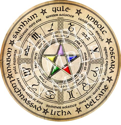 digital graphic wiccan wheel of the year by