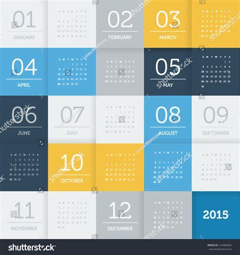 pattern color flat calendar 2015 square pattern flat color stock vector