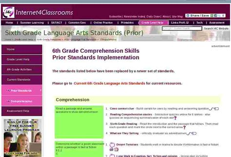 Language Arts Standards 6th Grade Comprehension Standards