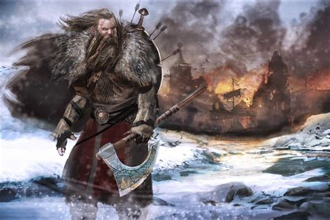 viking warrior boats lamin illustration design fire axe cover