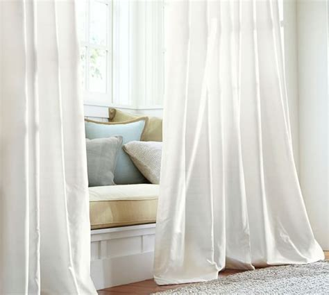 white silk drapes dupioni silk pole pocket drape pottery barn