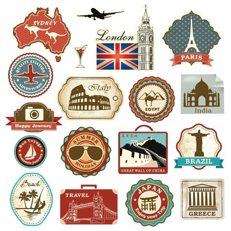 printable travel stickers amazon com 18 retro vintage travel suitcase stickers