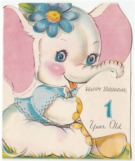 printable birthday cards for one year old baby white elephant girl with flower vintage 1 year old