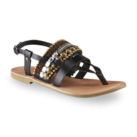 diba sandals diba s har low black embellished flat sandal shop