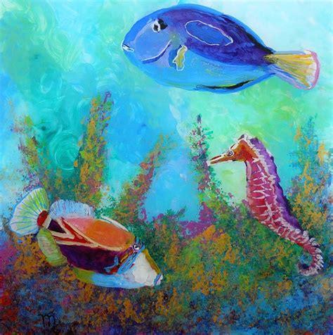 acrylic painting fish hawaiian tropical fish 3 original acrylic painting by