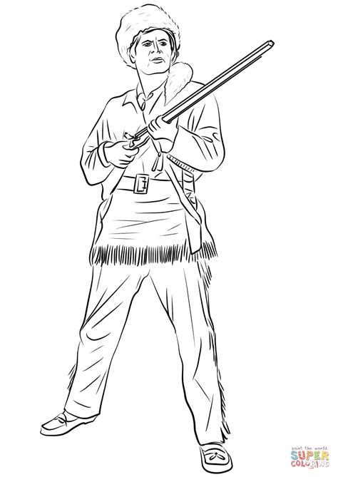 davy crockett king of the wild frontier coloring page
