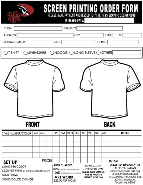 screen printing order form thms red army