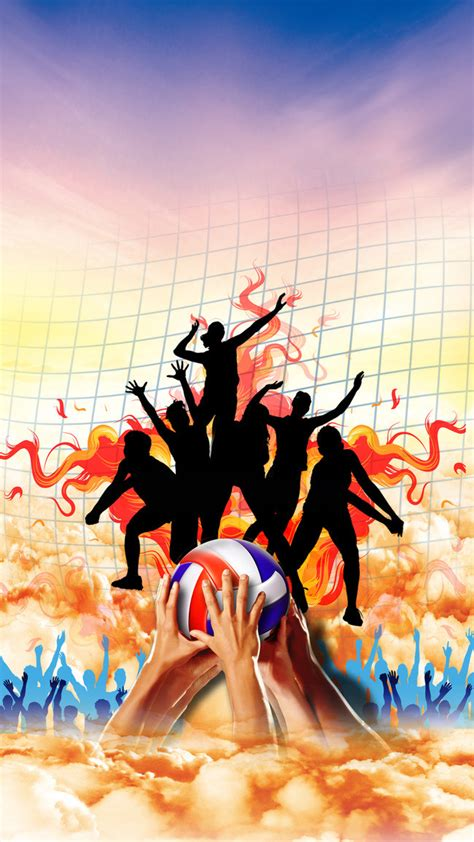 design volleyball poster volleyball poster background material volleyball match