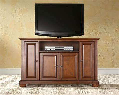 Brown Lacquered Oak Wood Media Cabinet With Av Shelf Of