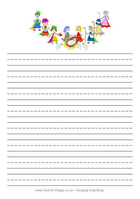 printable lined paper christmas nativity writing paper christmas writing papers