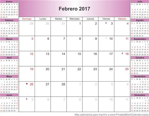 Calendario De Febrero 2017 Calendarios Para Imprimir Printableblankcalendar Org Es