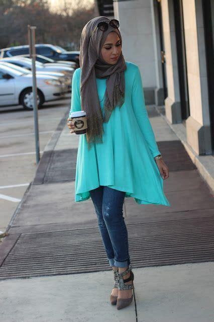 Jilbab Kerudung Segi Empat Flower Light Blue Bright Blue Aqua Tunic Looks By Sincerely