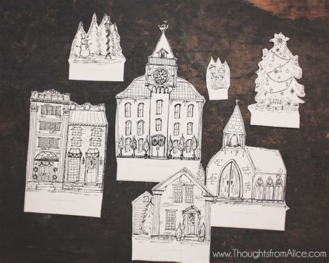 printable christmas village diy printable christmas village anthropologie inspired