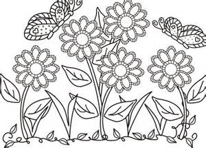 garden coloring pages butterfly and flower in the garden colouring butterfly