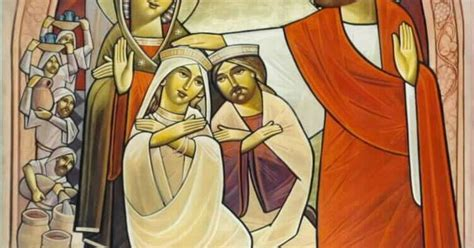 Wedding At Cana Modern by Modern Coptic Icon Of The Jesus At The Wedding At Cana