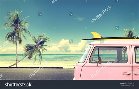vintage surf car vintage car surfboard on roof stock photo 270650114