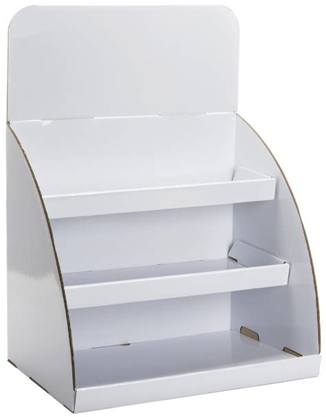 tabletop cardboard display shinny white with removable