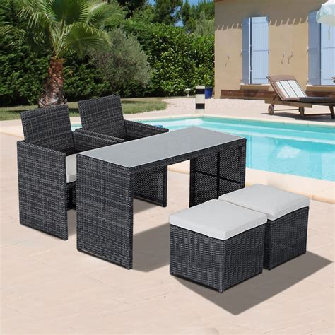 Outsunny 5pc Rattan Wicker Dining Set Outdoor Sofa Table Woven Wicker Patio Furniture