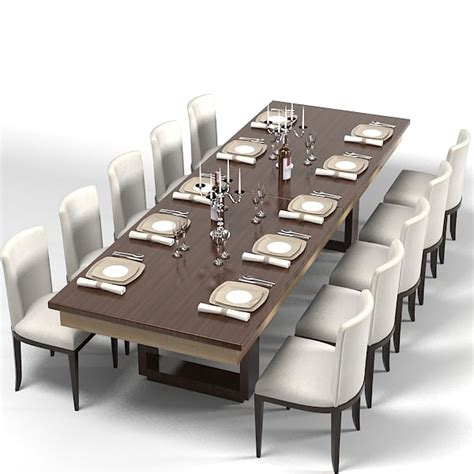 Contemporary Dining Table Set Modern Dining Table 3d Model