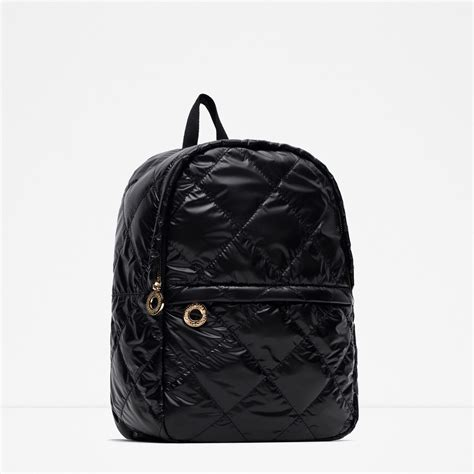 Zara Quilted Backpack zara quilted backpack in black lyst
