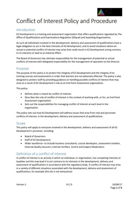 conflict of interest policy template conflict of interest policy template 11 sle exles