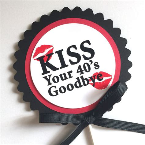 Decoration Idea 50th birthday kiss your 40 s goodbye cake topper
