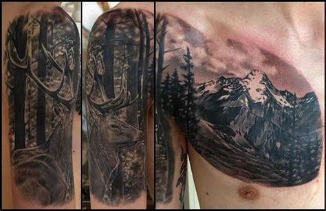 mountain and deer tattoo tattoos pinterest beautiful