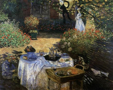 the monet family in their garden at argenteuil the luncheon monet s garden at argenteuil by monet claude