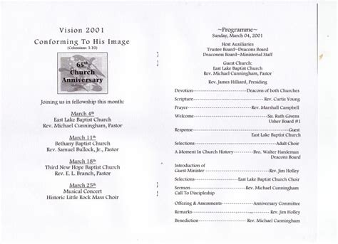 Church Anniversary Themes And Scriptures Just B Cause Baptist Church Program Templates