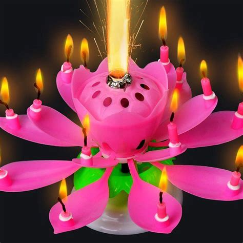 lotus flower birthday candle cake topper blossom musical magic birthday candle