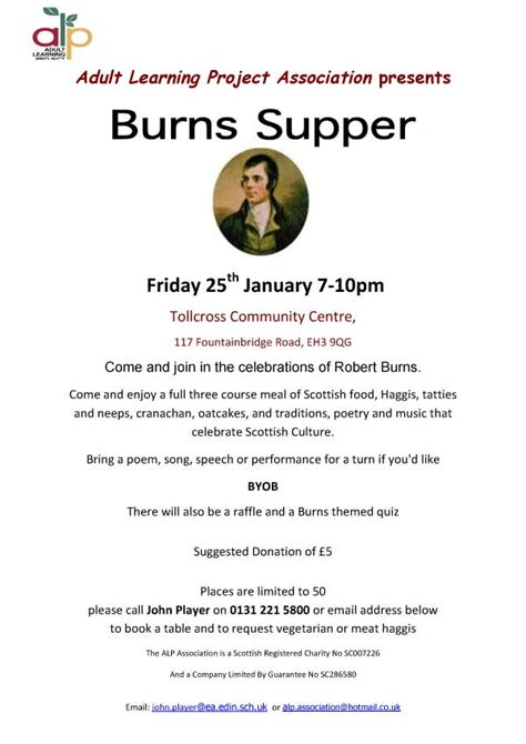 burns supper menu template alp burns supper nicaragua learning exchange