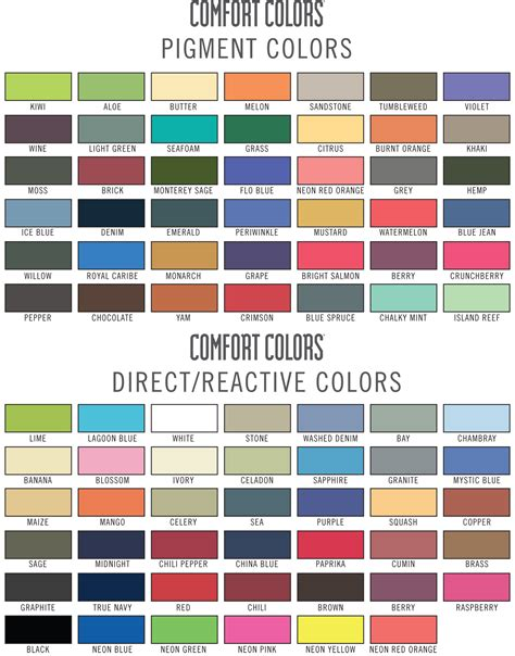 comfort color comfort colors color chart charts