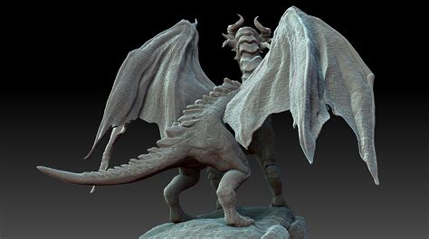 3d hd model gothic dragon zbrush hd 3d model obj ztl cgtrader