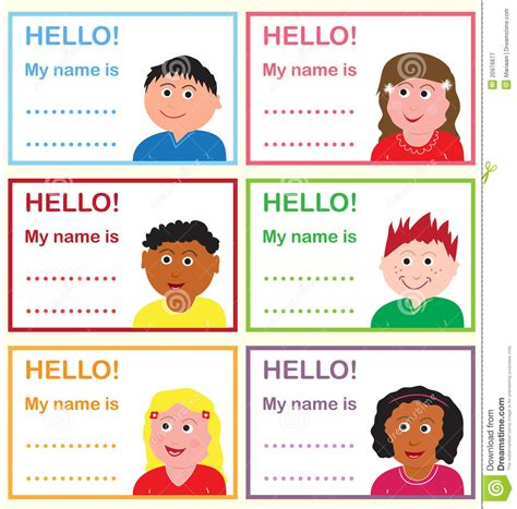 english worksheets name tags girls name tags for kids stock illustration illustration of