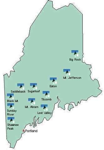 maine ski resorts map sports venues in maine