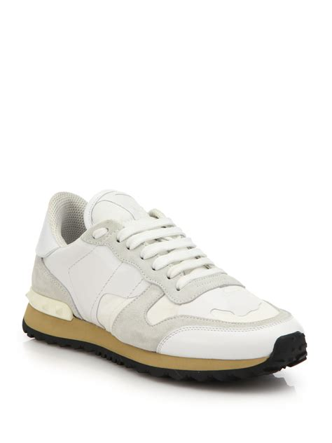 valentino sneakers valentino lamour leather suede sneakers in white lyst