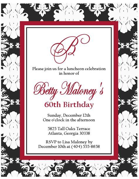 60th Birthday Card Templates by 60th Birthday Invitations For Birthday Invitations