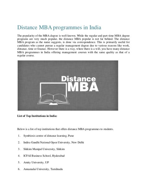 Part Time Mba In Information Technology Colleges In Mumbai by Distance Mba Programmes In India