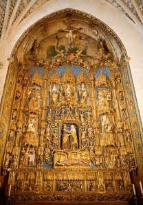 Home Interior Wall Art golden altar in the cathedral in burgos spain stock