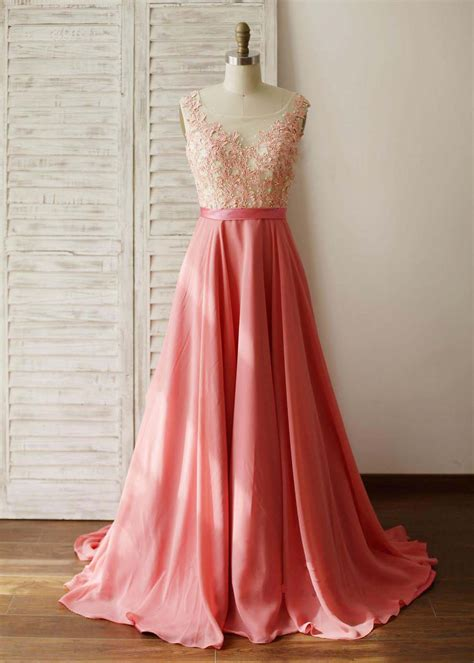 coral lace chiffon prom dress  beads decorated
