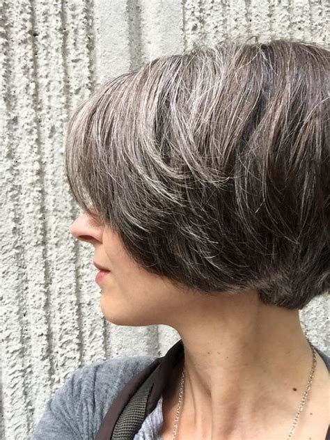 grey highlights in brown hair natural highlights icy brown hair gray pinterest