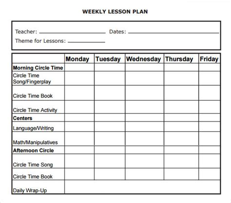 free weekly lesson plan templates weekly lesson plan 8 free for word excel pdf