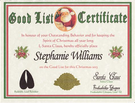 santa claus certificate template santa list certificate search results calendar 2015