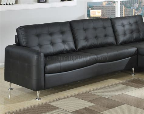 Chrome Sofa Legs by Black Bonded Leather Modern Sectional Sofa W Chrome Legs