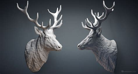 stag head designs deer stag head sculpture 3d model for cnc 3d printing