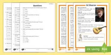 biography comprehension activity ks2 ks1 ed sheeran differentiated reading comprehension activity