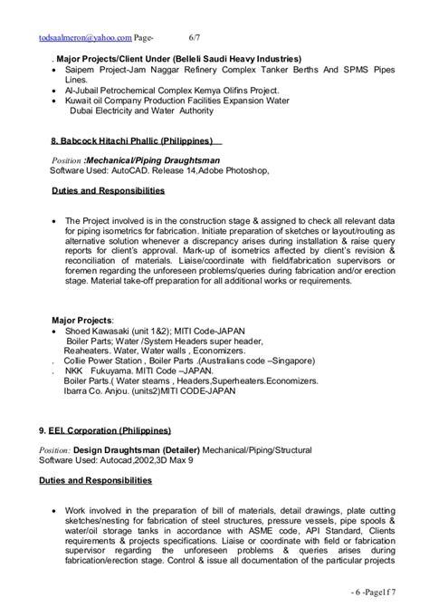 pdms piping designer resume sle resume ideas