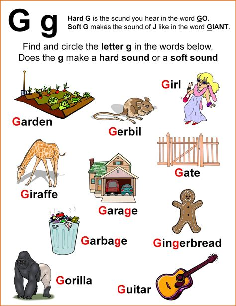 Gift Starting With Letter J Nonna And Me Gee Whiz Worksheet The Sounds Of Quot G Quot