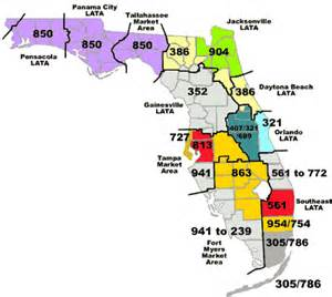 florida area code map florida netlink florida area codes
