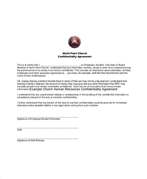 human resources confidentiality agreement template 11 church confidentiality agreement templates free
